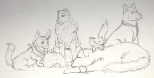 Happy Tails - Founding Dogs Sketch by Jamie-Wolfe