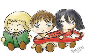 Attack on Titan: Armin, Eren, Mikasa Chibis by shainadilla