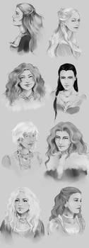 ASoIaF Girls Sketchdump by fee-absinthe