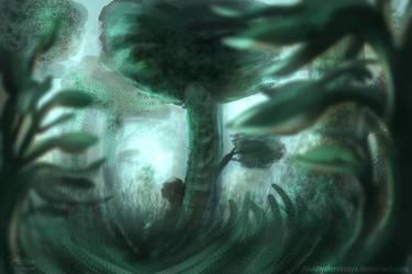 Alone under the tree | emotional art by AioKhyslerSirraya