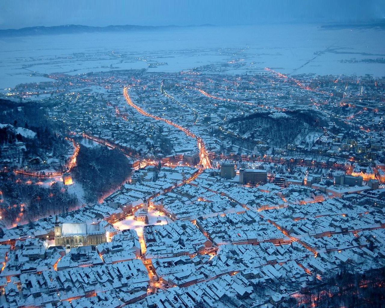 Brasov, Romania in winter time by theend