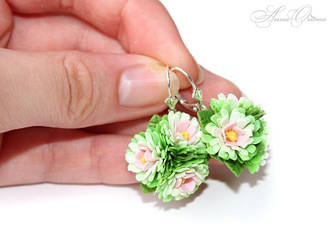 Earrings with a bouquet of flowers by OrionaJewelry