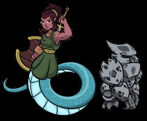 Gift-Art: Naga Warrior and Gargoyle, by H-72