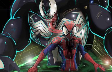 spidey and venom by SketchSchmidt-Art