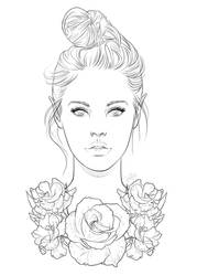 Free Line Art 01 - Roses by Violetris