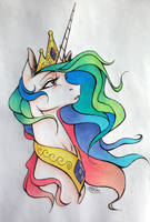 Princess Celestia Colored! by drawerfun