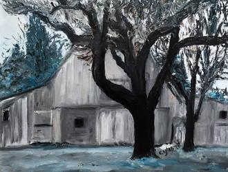 Trees with Barn by CarolynYM