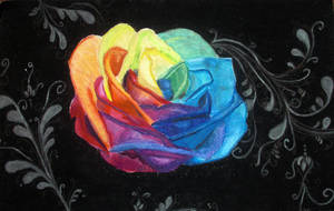Rainbow Rose - Oil Pasel by Wahm-bulence