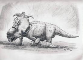 Pachyrhinosaurus Mudbath by DinoHunter000