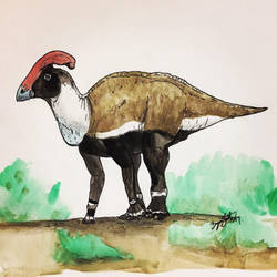 Parasaurolophus Bull (colorized) by DinoHunter000