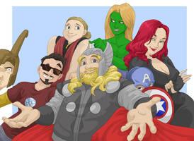 Fatty Thor and the Avengers by shinga