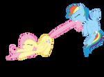 Rainbow Dash Dragging Fluttershy Vector by invokeartsense