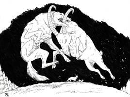 Inktober - Big Bad Wolf vs Eldest Goat Gruff by A3DNazRigar
