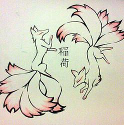 Kitsune Tattoo Design by TamaArisu