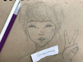 Peace Sign Girl Sketch by lovenomous