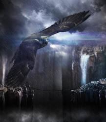 Eagle over the bridge by Adr13n