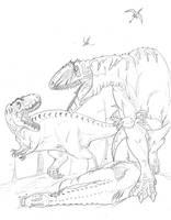 Saurophaganax vs Torvosaurus by hyphenatedsuperhero