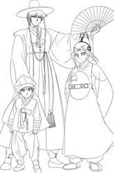 [Lineart] 18th Century Korea AU? :D by Ycajal