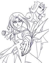 [Linework] Kamishiro Siblings by Ycajal