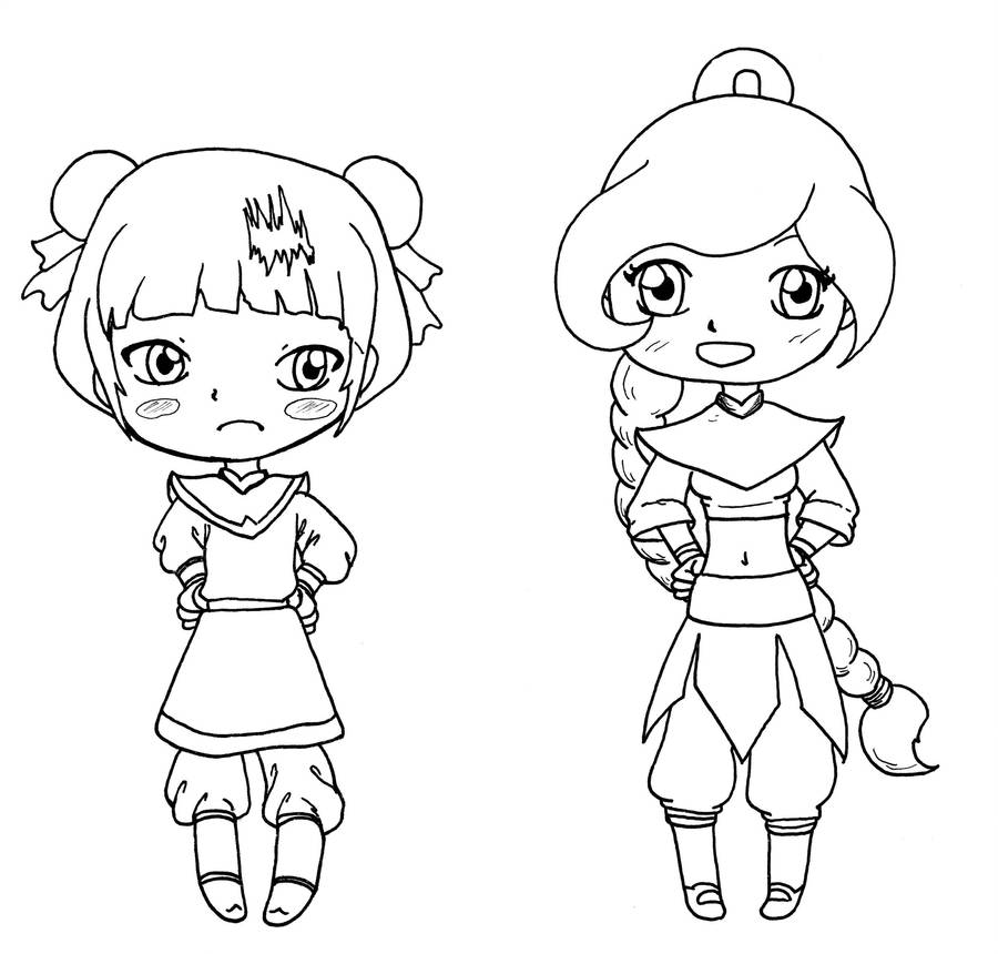 Lineart chibi Mai and Ty Lee by Shingery