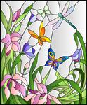 Vitral-libelula-y-mariposas-por-colores-degradados by Creaciones-Jean