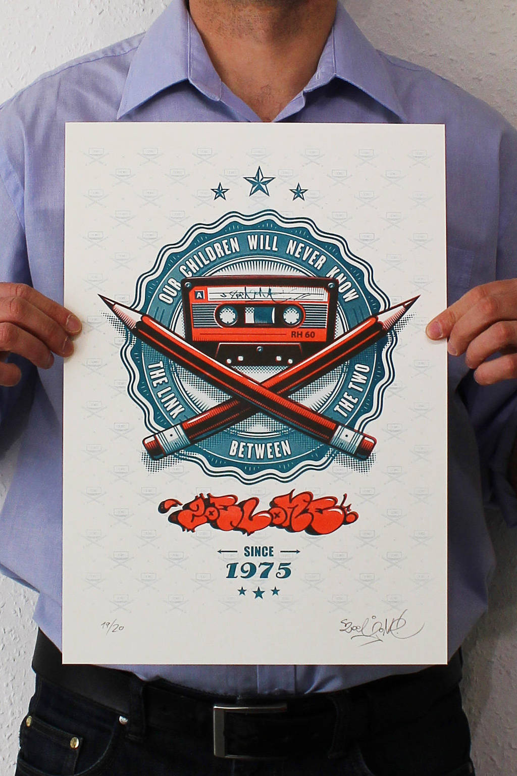 ZoelOne limited edition Riso print - The Link by ZoelOner