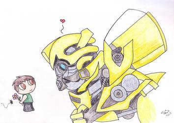 Bumblebee and chibi Sam by ramenkitsune