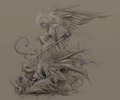 Angel Michael and Satan by Turonie