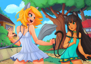 Cat and DogGirl - Taking a walk (Commission) by Rosalhymn