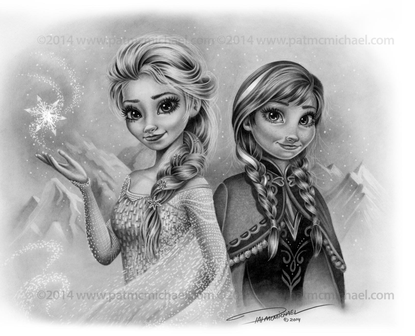 Elsa and Anna Christmas Card by pat-mcmichael