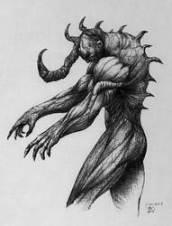 Demon Ink Drawing by nik-ivanov