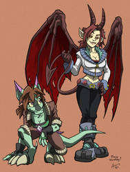 Cheyan and Ridley by RunicKnight