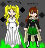 chibi Lisa and Apple III-tans by Kattlanna