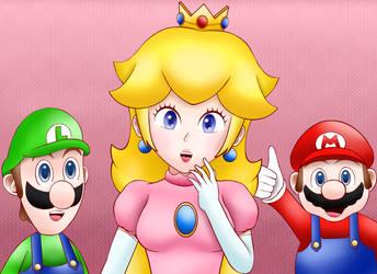 Gift 2- Mario,Luigi and Peach by Chino-Spike