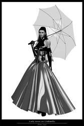 Lady with an Umbrella - BW by brokenangel