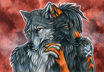Soulbound - double ACEO for Vlcek by wolf-minori