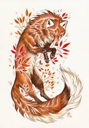 Autumn Fox by wolf-minori