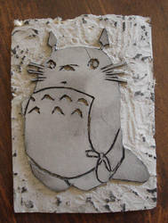 Linoleum Carving of Totoro by thekxsproject