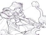 Drow Ranger Sketch 2 by RikaChan3