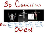 3D art Commission Prices by MadCheshireFox