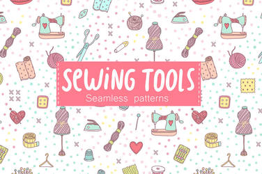 Sewing tools. Seamless pattern by creativework247