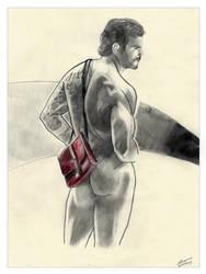 #005 Male Art Red Briefcase by Edgar-gfx