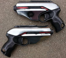 Dual Cyberpunk Pistol Props by firebladecomics