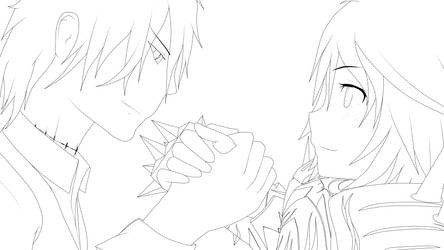 Augur and Milica OC lineart by MatrixOneBNR