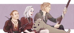 Commission: Elizabeth Hawke with Varric and Anders by Nikranel