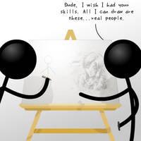 Stick People Drawing by JohnSu