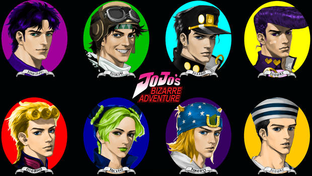 All The Jojos Colored Jotaro Black Hair Black Bac By