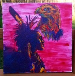 Native American with Eagle by nthomas-illustration