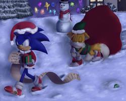 :Santa and his loyal elf: by Mitzy-Chan