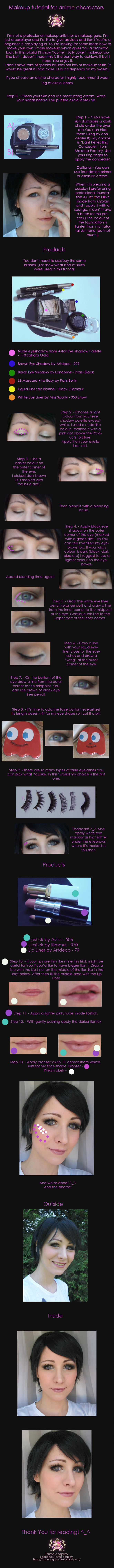 Cosplay makeup tutorial for anime characters by Tazziecosplay